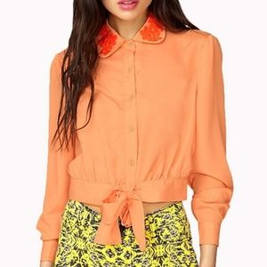 Electric Peach buttoned tie blouse crop top